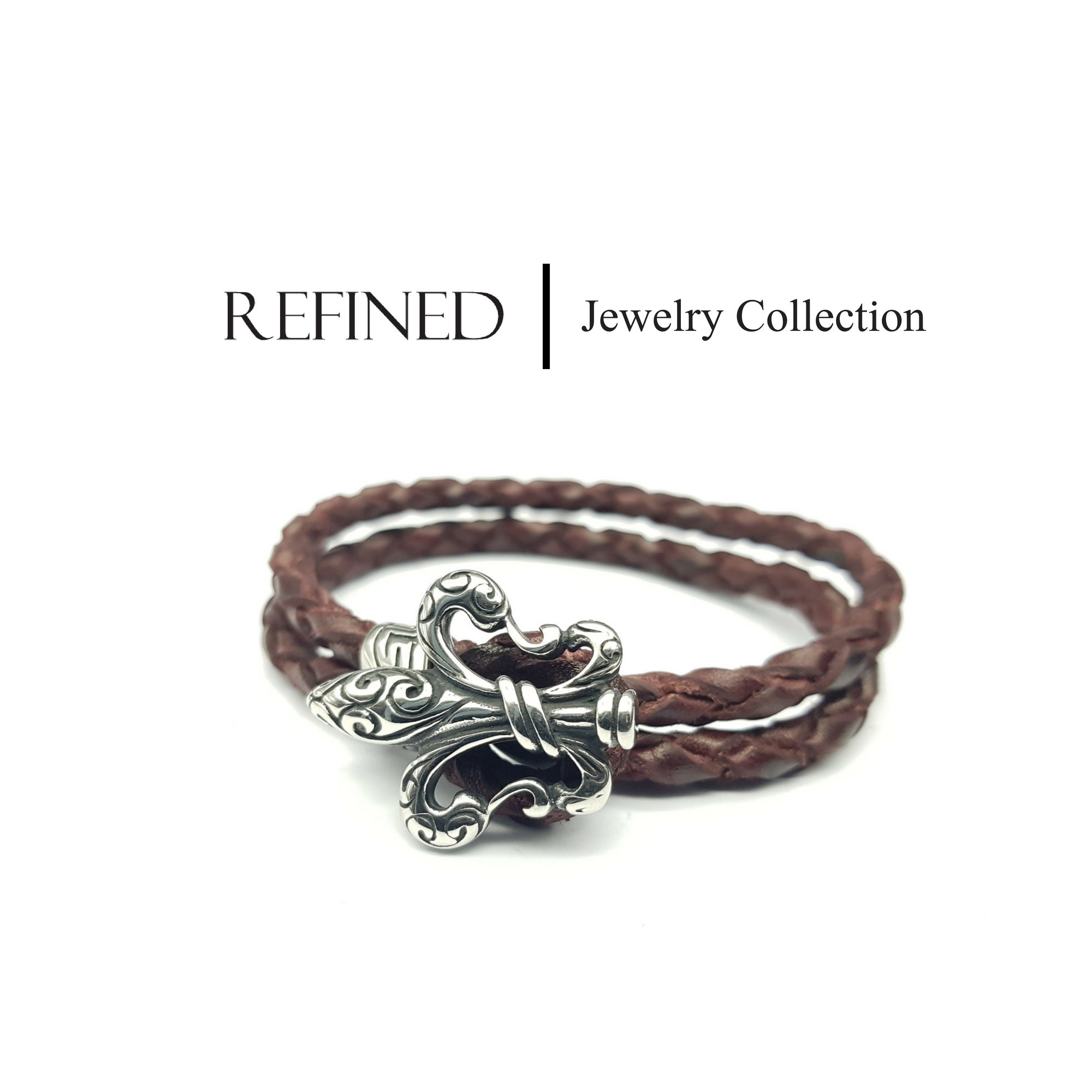 R052 - Boy Scout Refined Brown Leather Bracelet