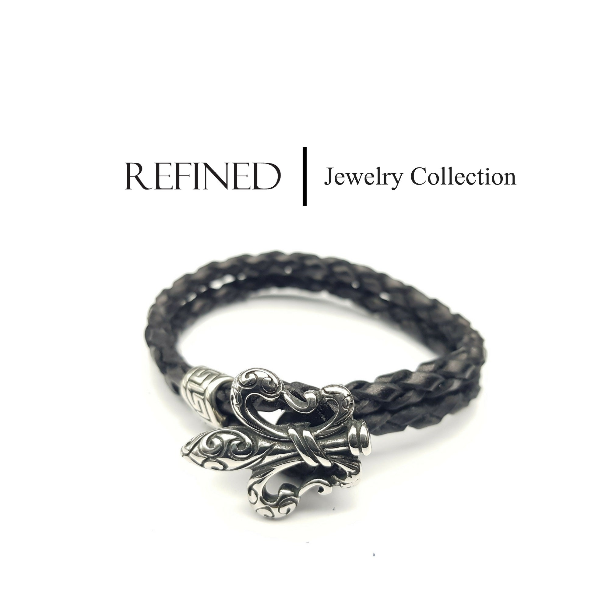 R053 - Boy Scout Refined Black Leather Bracelet