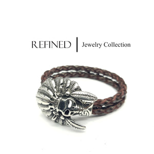 R054 - Skull Refined Brown Leather Bracelet