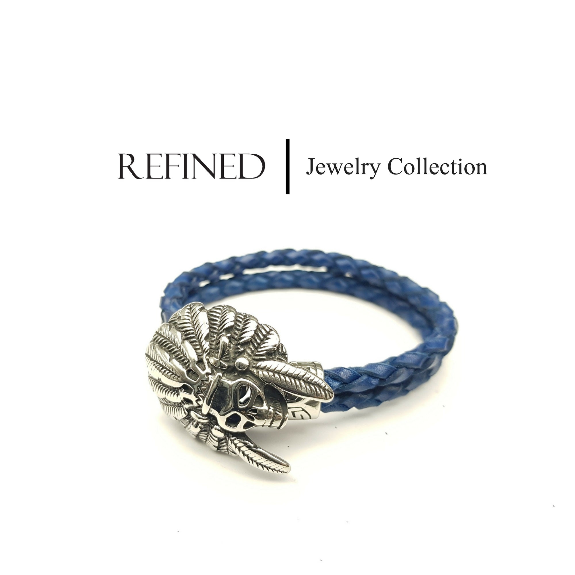 R055 - Skull Refined Blue Leather Bracelet