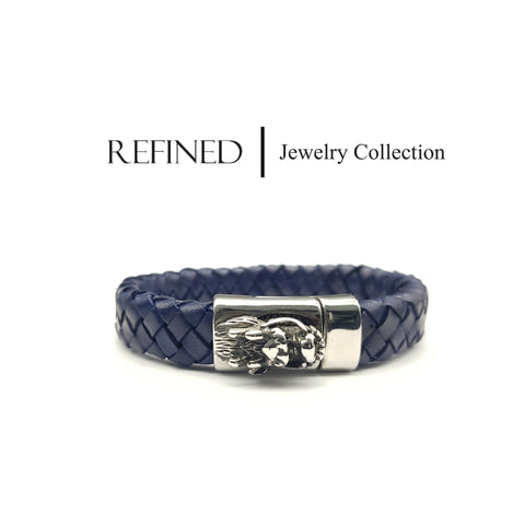 R063 - Dragon Refined Blue Leather Bracelet