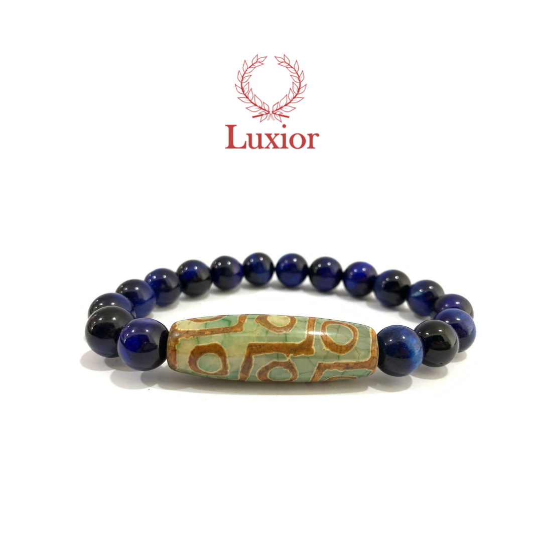 BLUE TIGER'S EYE LUXIOR BRACELET (绿色天珠)