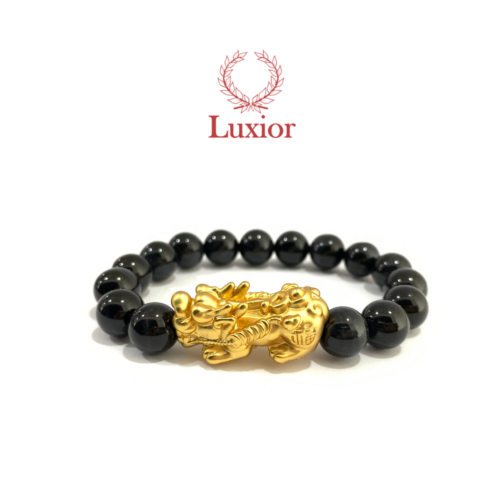 DARK BLUE TIGER'S EYE LUXIOR BRACELET (PIXIU GOLD)