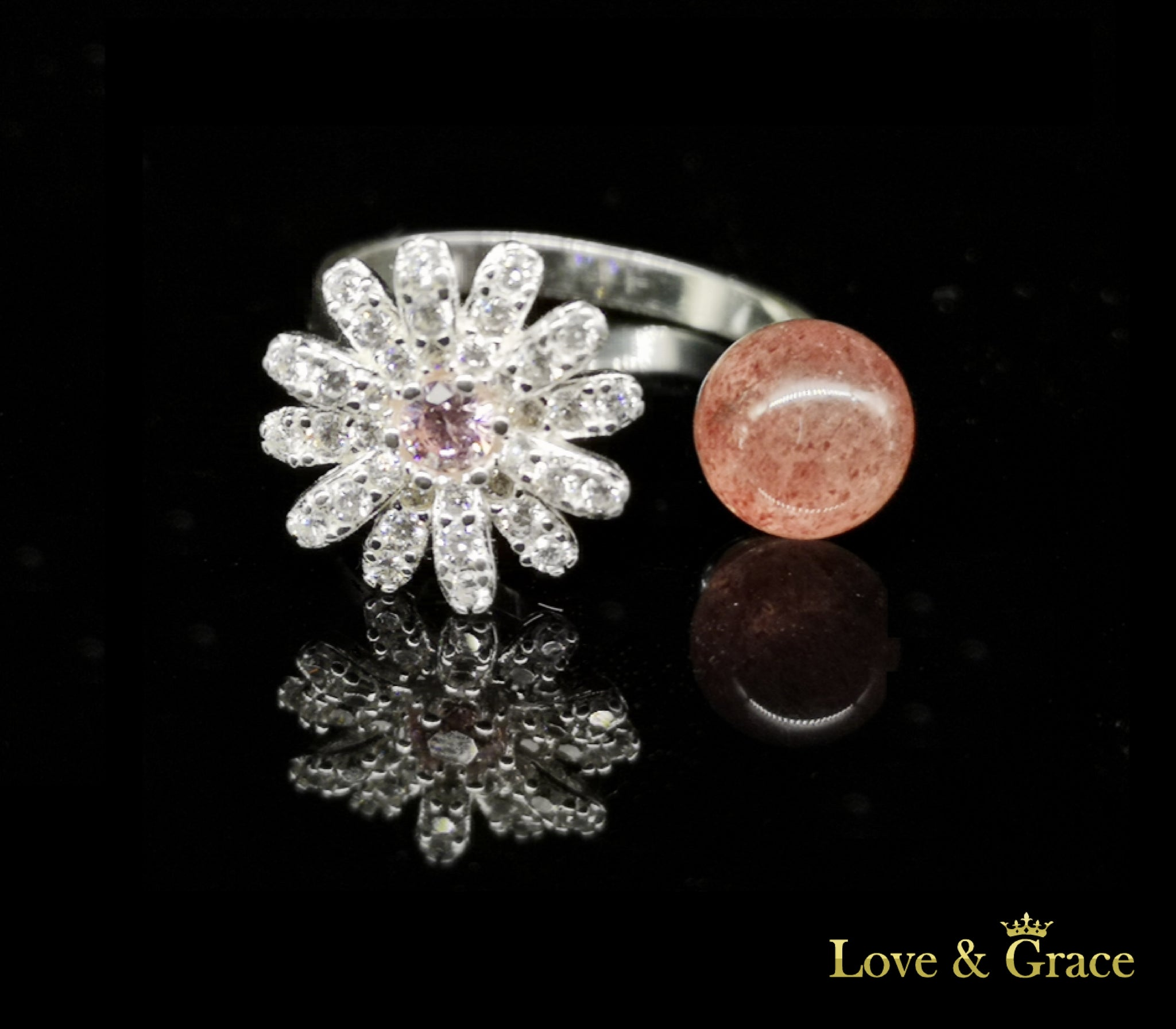 925 Silver - Strawberry Crystal & Flower Rotating Ring