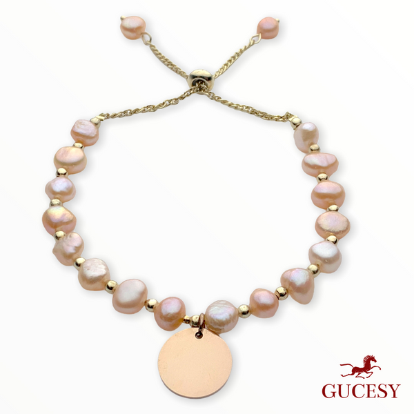 GUCESY Personalized Name Baroque Natural Pearl Bracelet Hadiah GIFT GIVING READY Custom Name