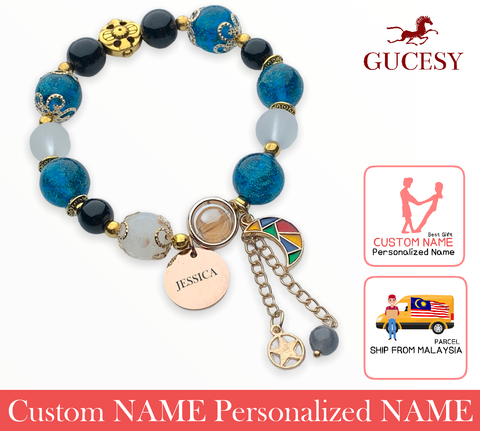 GUCESY Personalized Name Colorful Crystal Moon Bead Bracelet Hadiah GIFT GIVING READY Custom Name