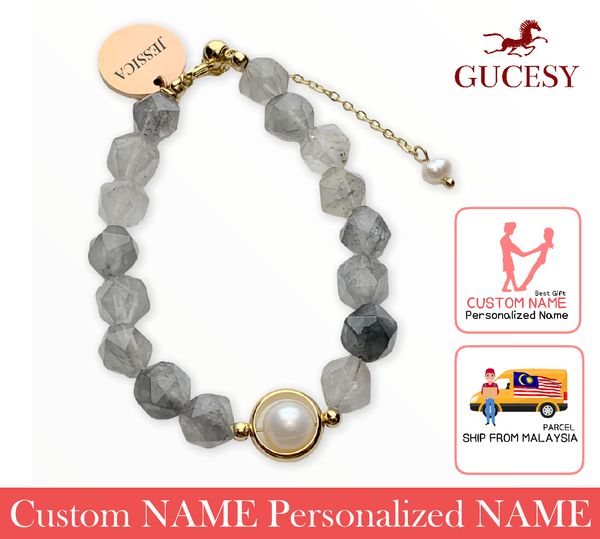 GUCESY Personalized Name Bardo Apatite Crystal Pearl Shell Bracelet Hadiah GIFT GIVING READY Custom Name
