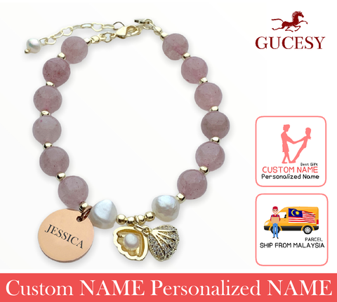GUCESY Personalized Name Strawberry Crystal Love Shell Bracelet Hadiah GIFT GIVING READY Custom Name