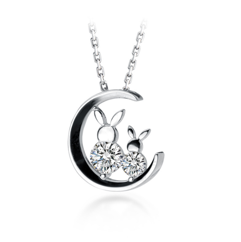B005 925 Silver Rabbit Sitting on the Moon