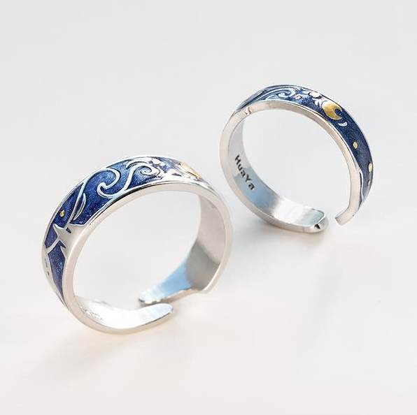 925 Couple Ring Starry Night