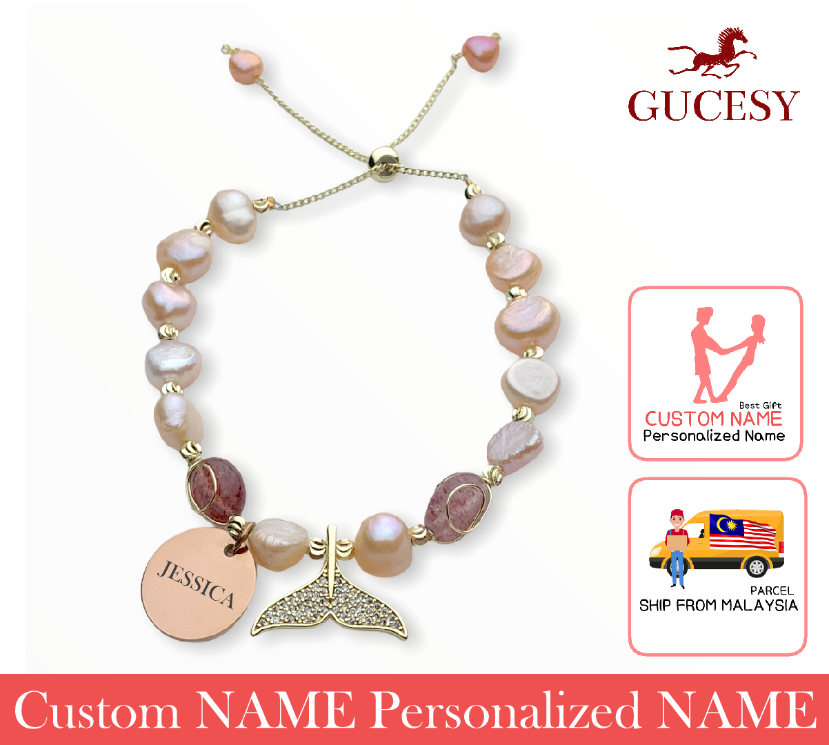 GUCESY Personalized Name Pearl Emerald Lucky Fishtail Bracelet Hadiah GIFT GIVING READY Custom Name