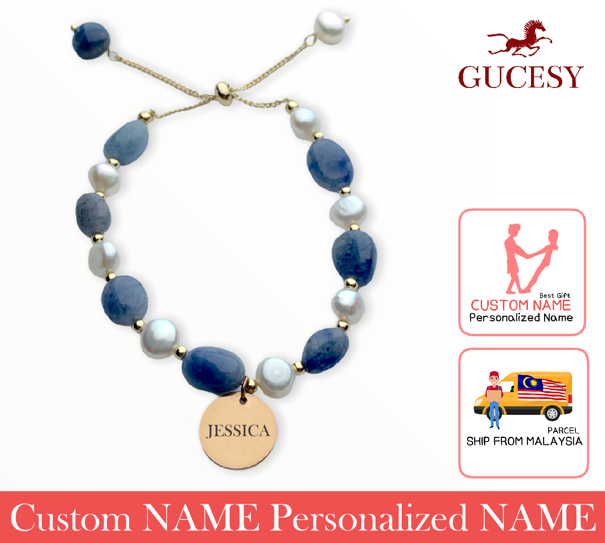 GUCESY Personalized Name Blue Pearl Aventurine Slip Bracelet Hadiah GIFT GIVING READY Custom Name