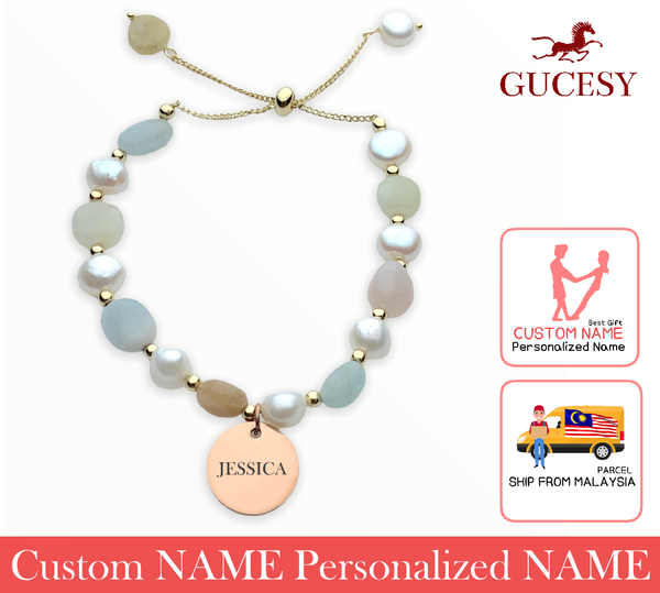 GUCESY Personalized Name Pearl Morganite Bracelet Hadiah GIFT GIVING READY Custom Name