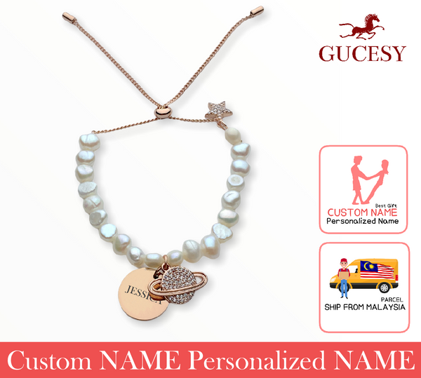 GUCESY Personalized Name Planet Pearl Bracelet Hadiah GIFT GIVING READY Custom Name
