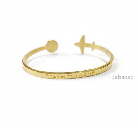 Gold Travel The World Cuff Bangle