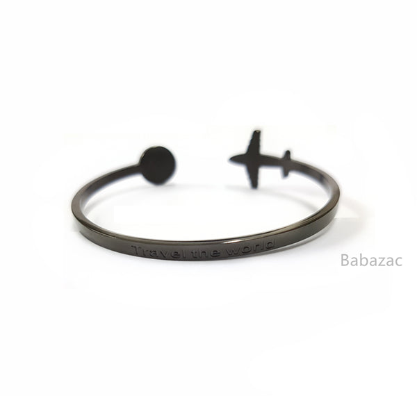 MATTE BLACK Travel The World Cuff Bangle