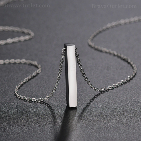Made Personalized Name Vertical Bar Stainless Steel Pendant Necklace (NH)