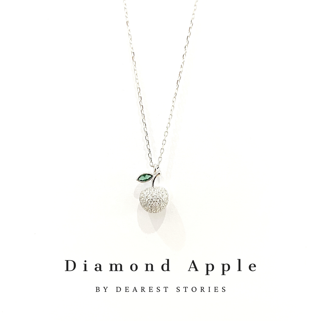 D082 - 925 SILVER - Diamond Apple(white)