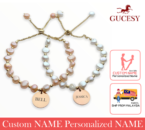 GUCESY Personalized Name Baroque Pearl Bracelet Hadiah GIFT GIVING READY Custom Name