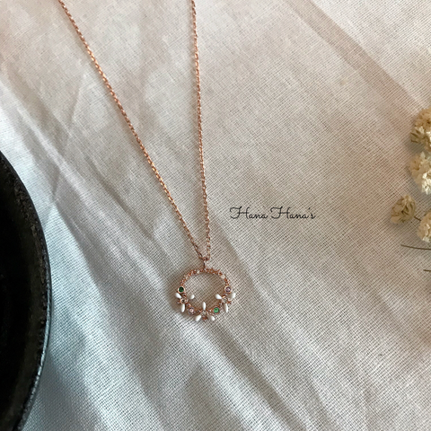 H0015 - 925 SILVER - FLOWER RING ROSE GOLD NECKLACE