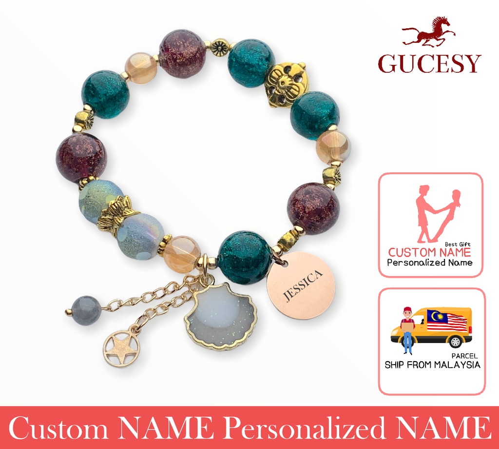 GUCESY Personalized Name Shell Colorful Crystal Moon Beads Bracelet Hadiah GIFT GIVING READY Custom Name