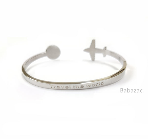 SILVER Travel The World Cuff Bangle