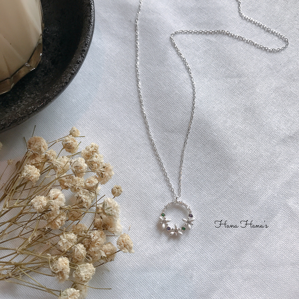 H0014 - 925 SILVER - FLOWER RING SILVER NECKLACE