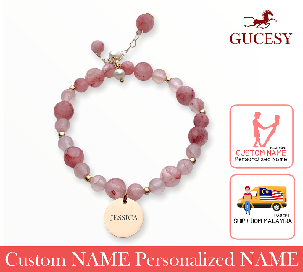 GUCESY Personalized Name Natural Strawberry Crystal Bead Bracelet Hadiah GIFT GIVING READY Custom Name