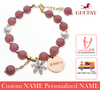 GUCESY Personalized Name Zircon Flower Strawberry Crystal Bracelet Hadiah GIFT GIVING READY Custom Name