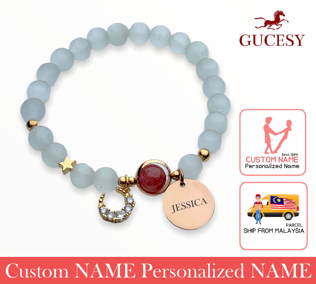 GUCESY Personalized Name Moon Strawberry Crystal Opal Bracelet Hadiah GIFT GIVING READY Custom Name