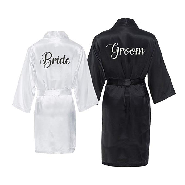 Bride and Groom Satin Robe Set