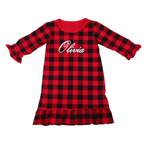 Personalized Buffalo Plaid Christmas Nightgown