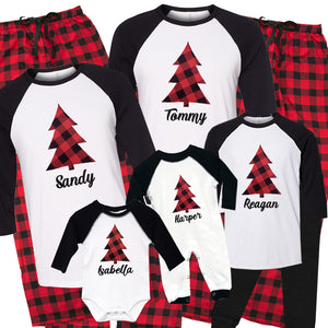 Personalized Plaid Christmas Tree Matching Family Pajama Set - Buffalo Plaid
