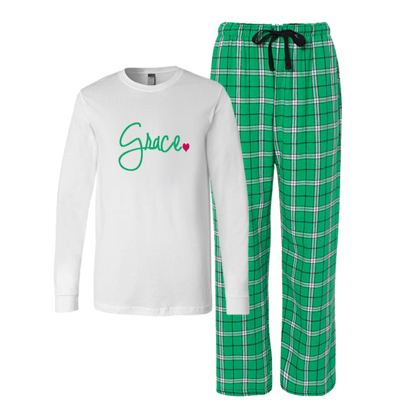 Personalized Flannel Pajamas with Heart