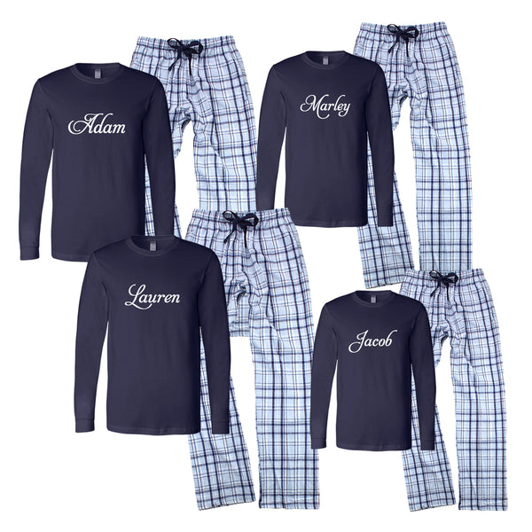 Personalized Matching Family Hanukkah Pajamas with Names