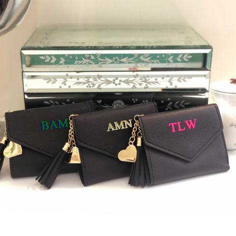 Shadow Monogram Wallet with Tassel and Heart