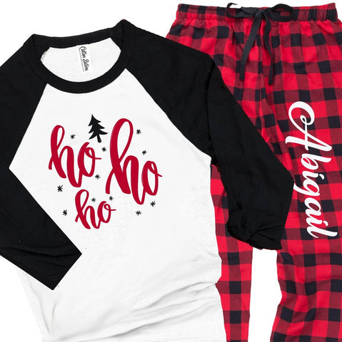Personalized Ho Ho Ho Christmas Flannel Pajama Set - Buffalo Plaid Red and Black