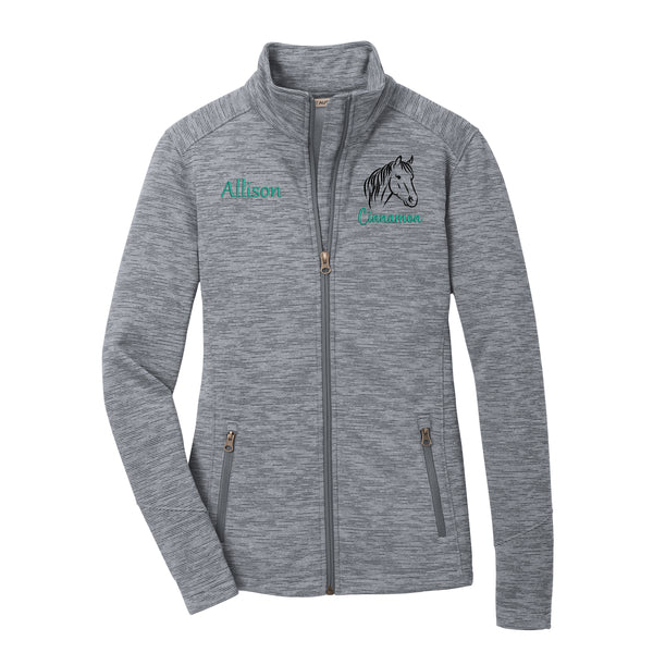 Horse Striped Fleece Jacket - Ladies