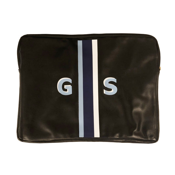 Monogrammed Vegan Leather Laptop Pouch