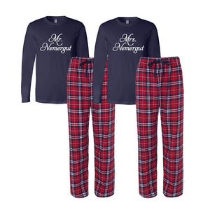 Personalized Mr. and Mrs. Flannel Pajama Set - Navy and Red