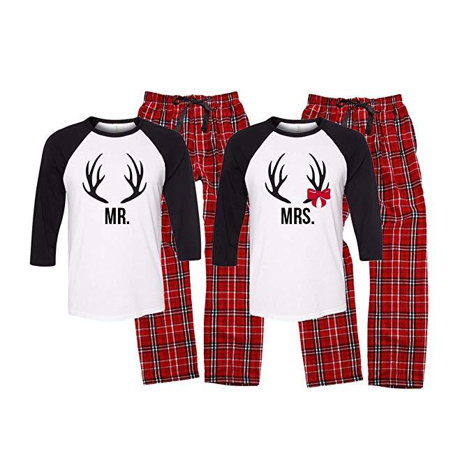 Mr. and Mrs. Antler Christmas Pajama Set