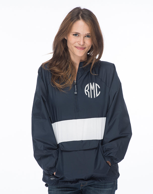 Monogrammed Striped Windbreaker