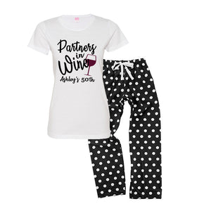 Partners in Wine Personalized Pajamas - Black/White Polka Dot