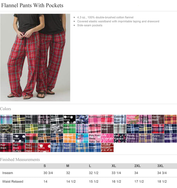 Personalized Flannel Pajama Pants - Plaid