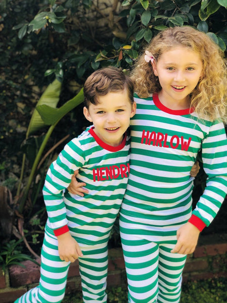 Personalized Striped Christmas Pajamas - Kids and Adult