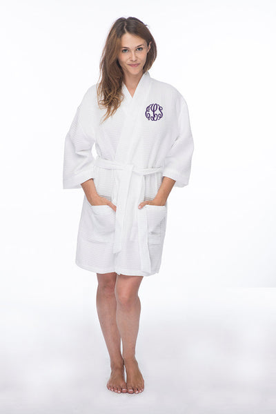 Monogrammed Waffle Robe with Initials Embroidered on the Front