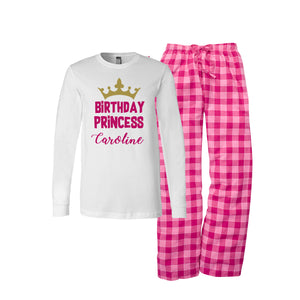 Personalized Birthday Princess Flannel Pajama Set