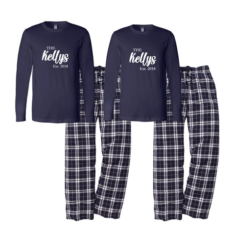 Personalized Est. Family Name Flannel Pajama Set