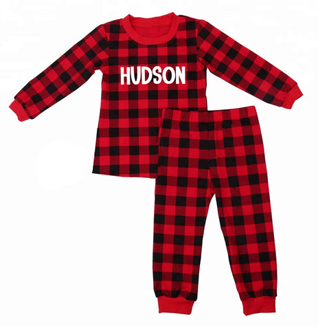 Personalized Buffalo Plaid Christmas Pajamas - Kids and Adult