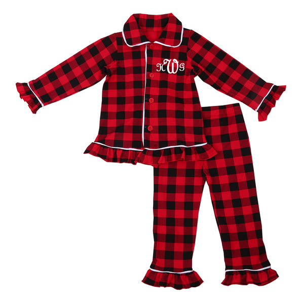 Personalized Plaid Ruffle Christmas Pajamas - Buffalo Plaid